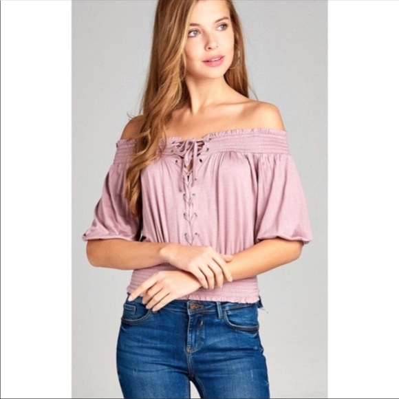 Couture Gypsy Tops - Off Shoulder Lace-up Top